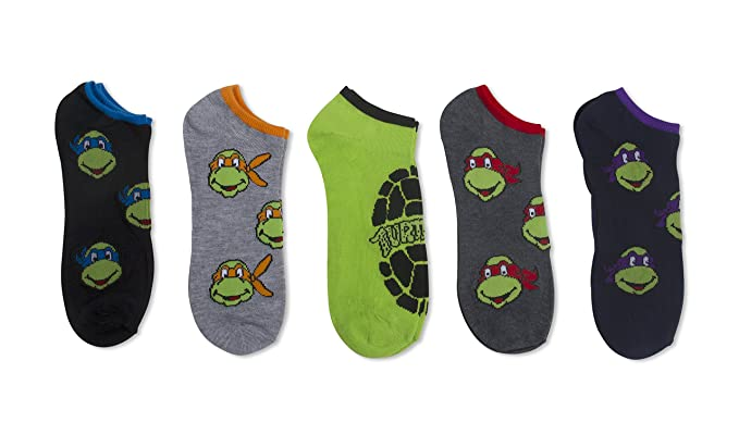 2778d1116f08 Teenage Mutant Ninja Turtle Men's 5 pk No Shows (10-13) Assorted Colors