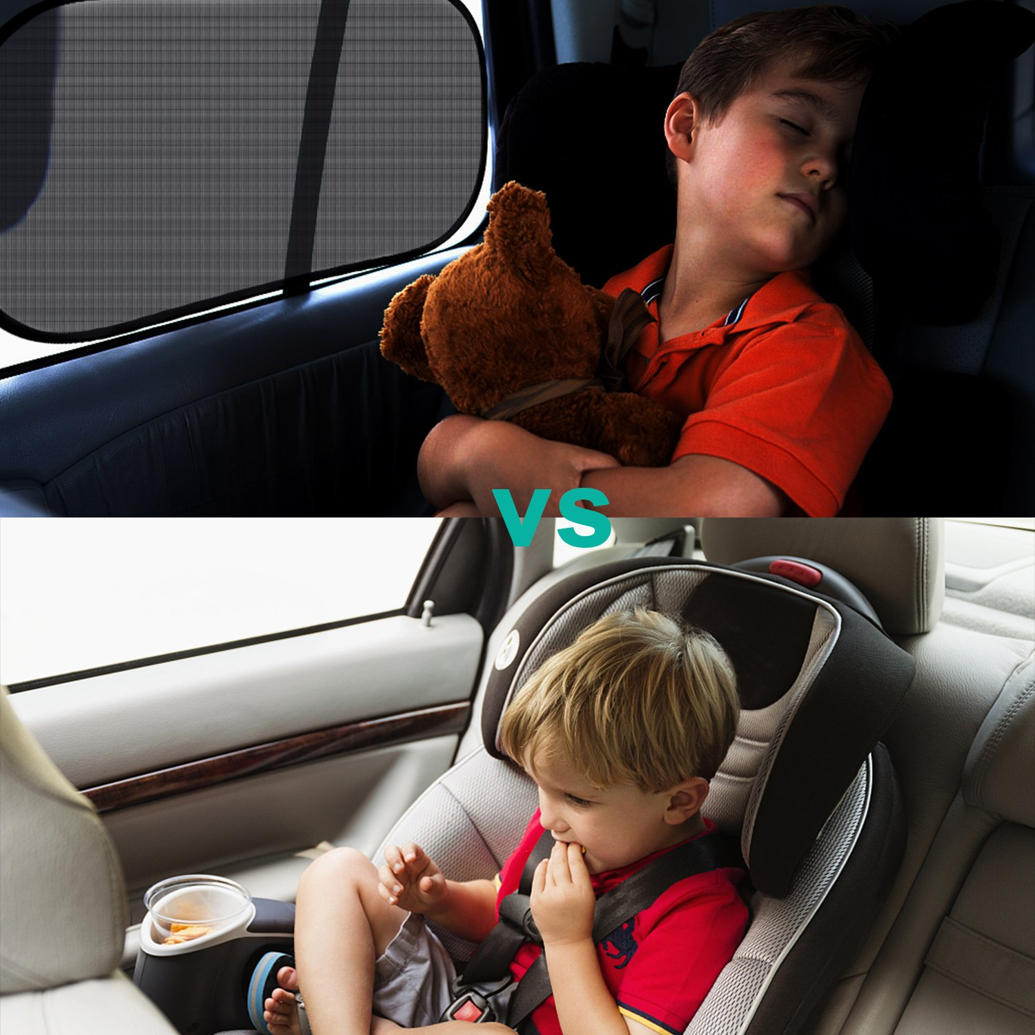 Toplus 22x14 Extra Large Car Window Shades for Side and Rear Window 80 GSM Static Cling Side Window Shade for Maximum UV Rays Sun Glare Protection 3PCS Car Sun Shades for Baby Child Kids