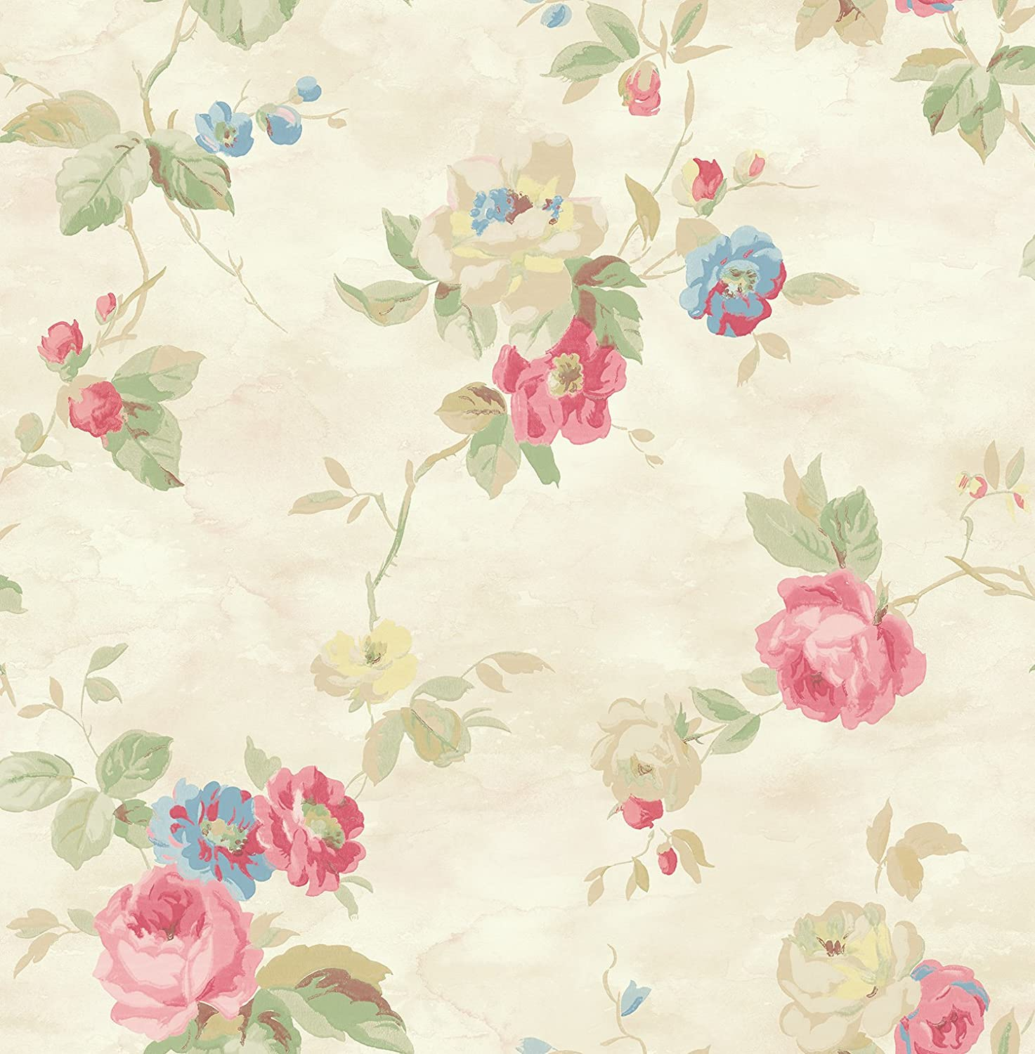 Pink Floral Wallpaper Blue Floral Wallpaper Chinoiserie Wallpaper
