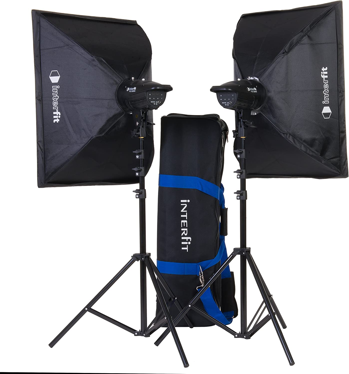 Interfit F121 2x 200W Head Softbox Studio Flash Photography Kit with Carry Bag