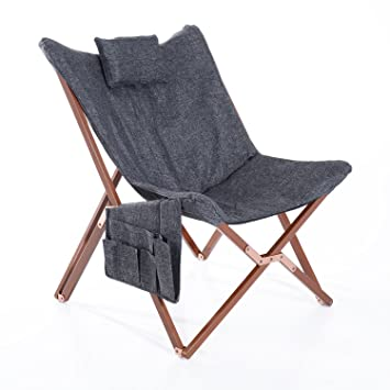 Superieur HomCom 37u201d Fabric Folding Butterfly Chair   Dark Gray