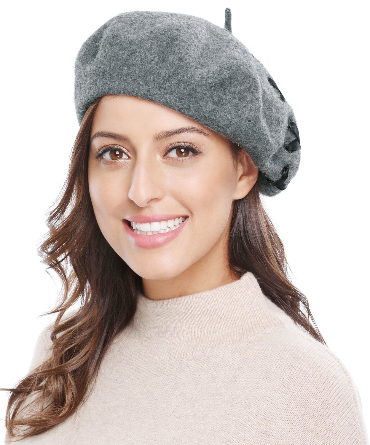Bellady Women's Vintage Classic French Solid Wool Beret Hat Beanie Cap, Grey_2