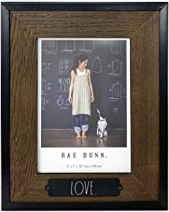 "Rae Dunn ""Love"" Picture Frame - 5 x 7 in. Photo Holder for Desk or Table Top Display - Rustic Distressed Grey Wood Design for Family Photos, Diploma, Art - Stylish Home and Office Décor"