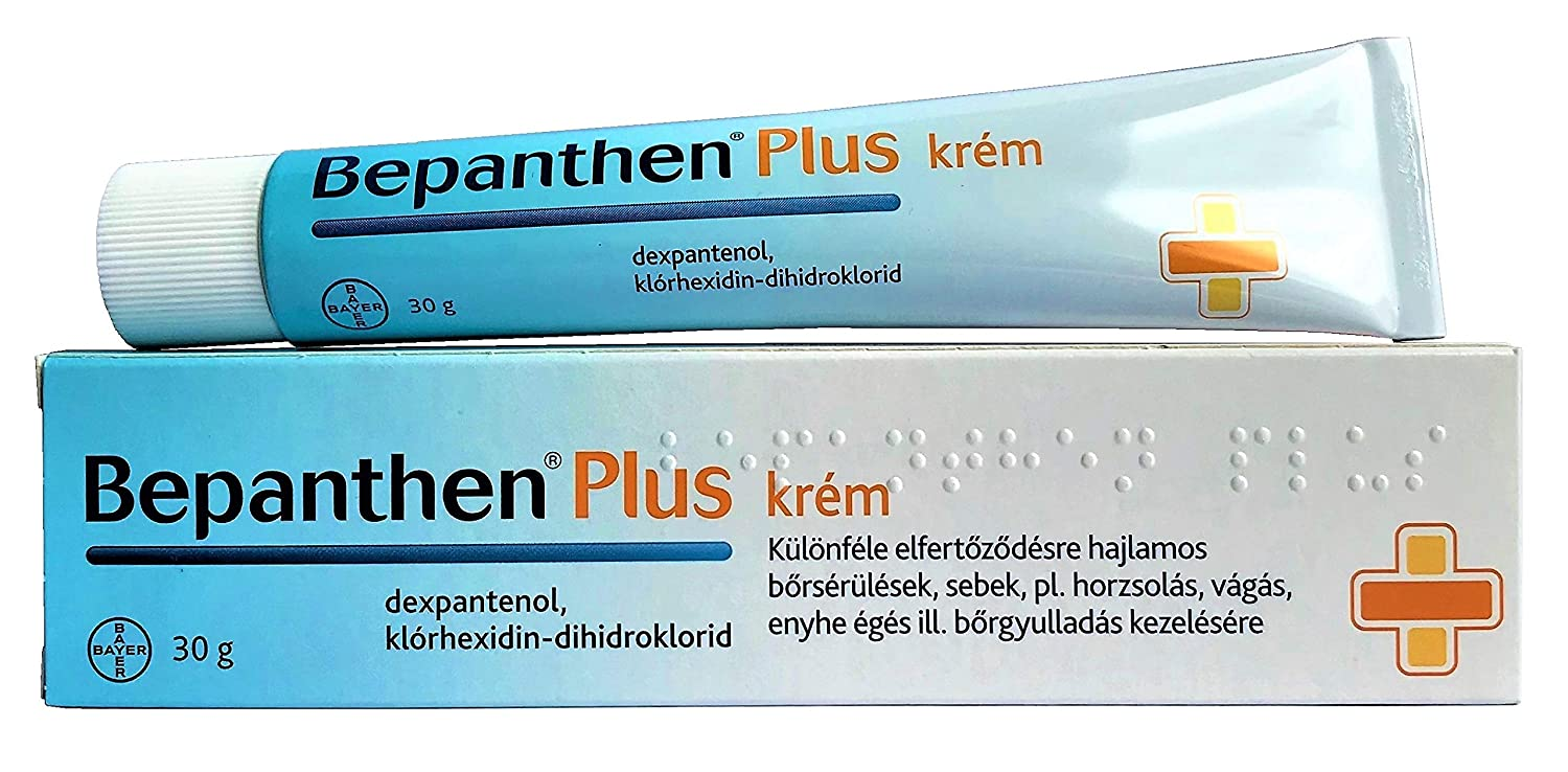 BEPANTHEN PLUS Cream 30g tube - 5% Dex-Panthenolum 0 5% Chlorhexidini  Dihydrochloridum Skin Health Support Treatment - For infection of wounds  such as