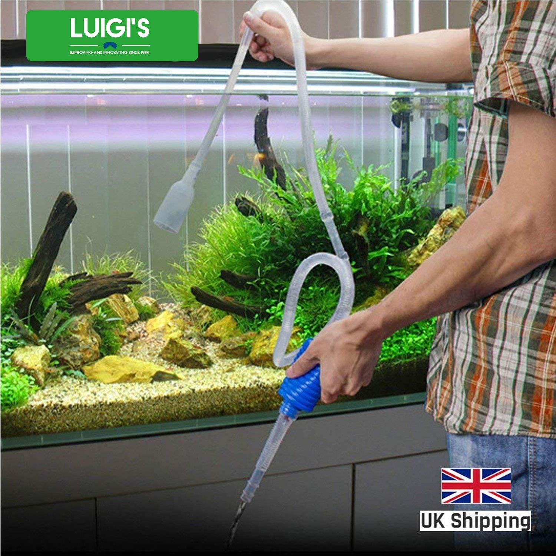 Sifón para la limpieza de su acuario - ¡una bomba de sifón de mano para drenar y reemplazar el agua en cuestión de minutos!: Amazon.es: Jardín