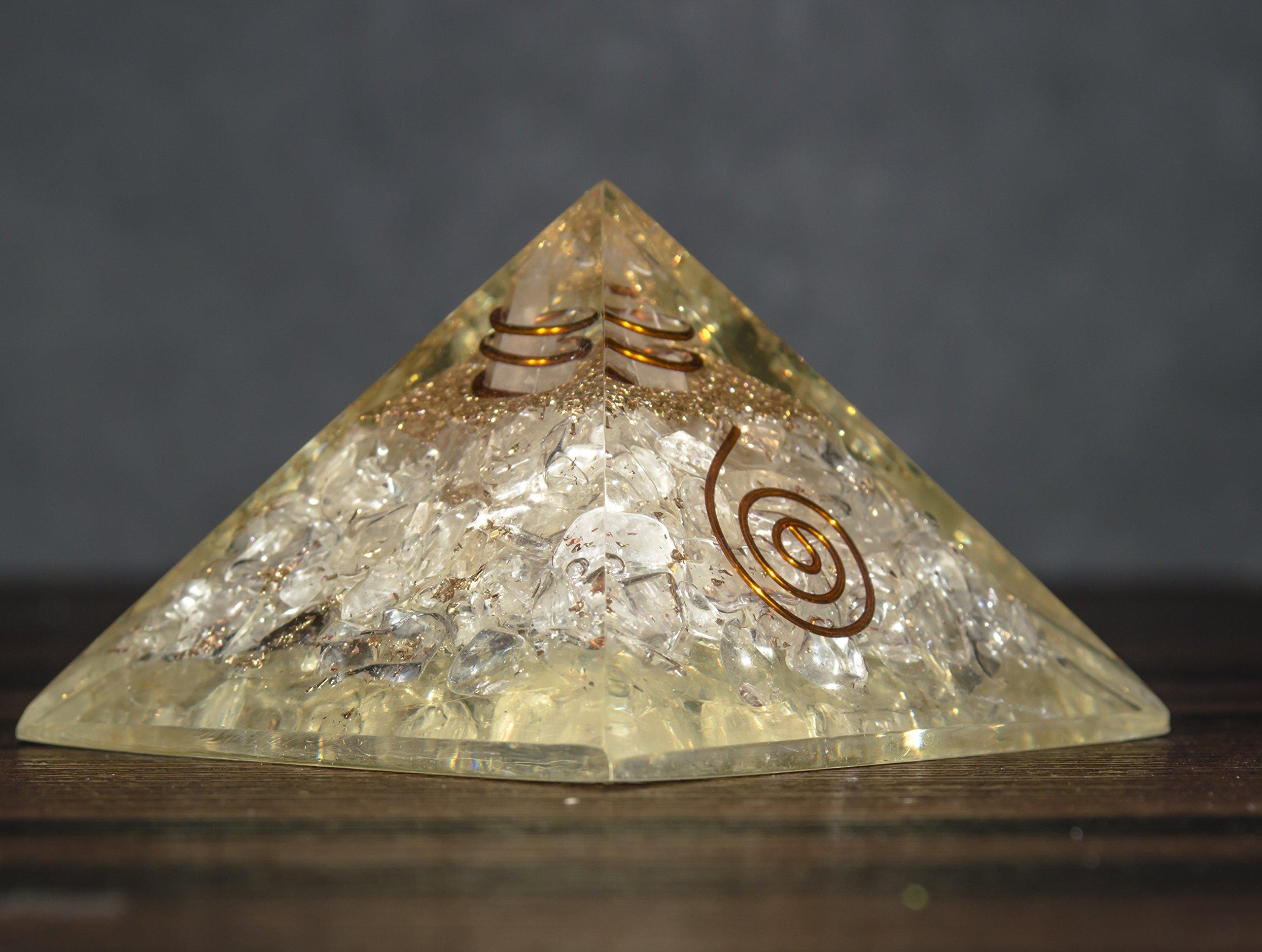 Crocon Clear Quartz Orgone Pyramid Gemstone Energy Generator For Reiki Healing Chakra Balancing EMF Protection Aura Cleansing Size: 2.5-3 Inch by Crocon (Image #3)