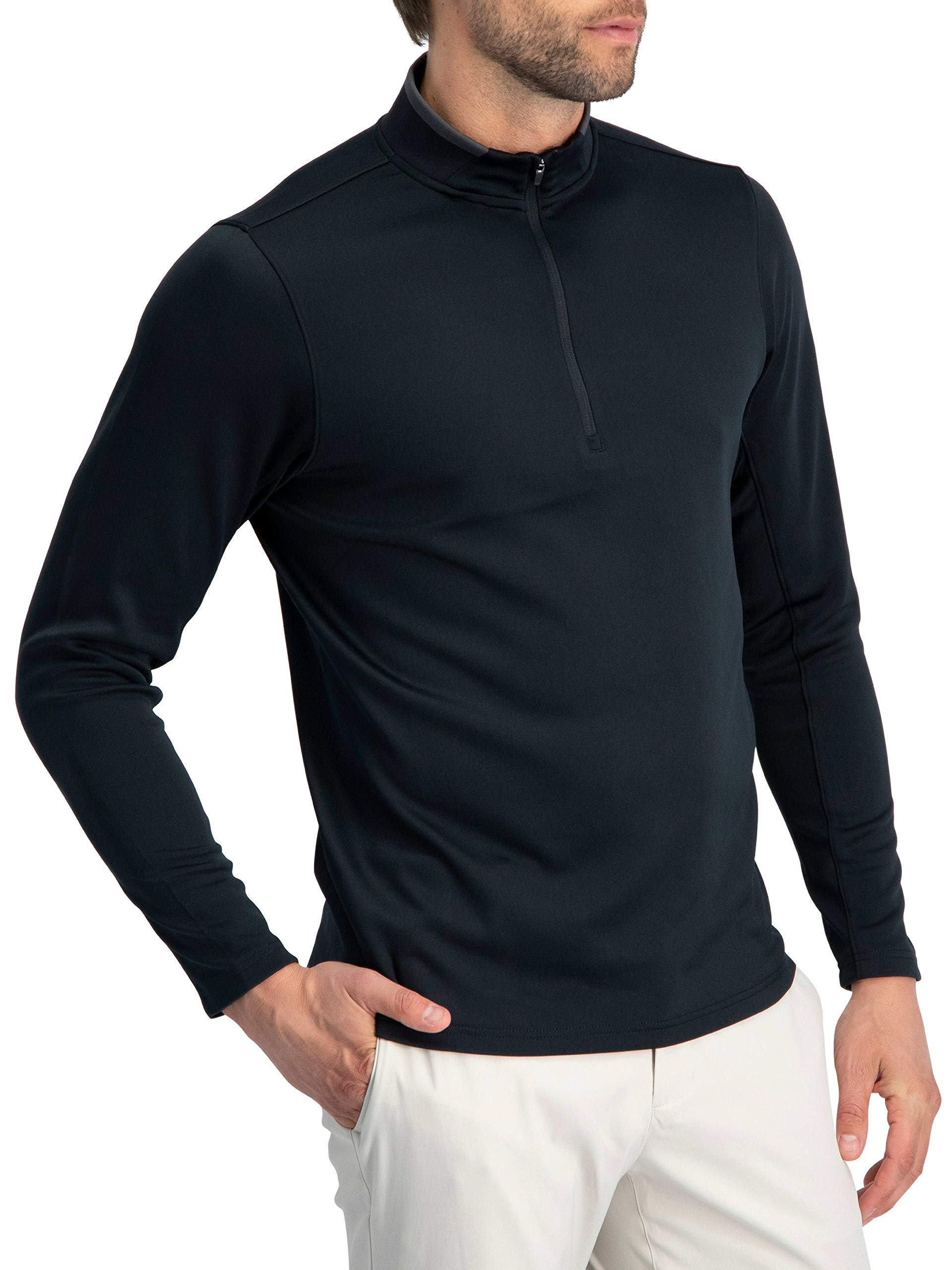 Golf Half Zip Pullover Men - Fleece Sweater Jacket - Mens Dry Fit Golf Shirts Jet Black by Three Sixty Six