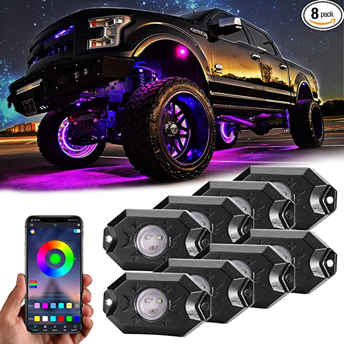 YOUNGFLY RGB Rock Light for Trucks LED Truck Bed Lights Kits Remote Control Multicolor Rock Lights for Vans,Trailers,Under Off Road Truck SUV,Pickup Truck