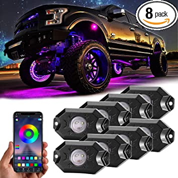 8X RGB 48LED Car LED Rock Lights Under Body Lighting Atmosphere Lamps Waterproof