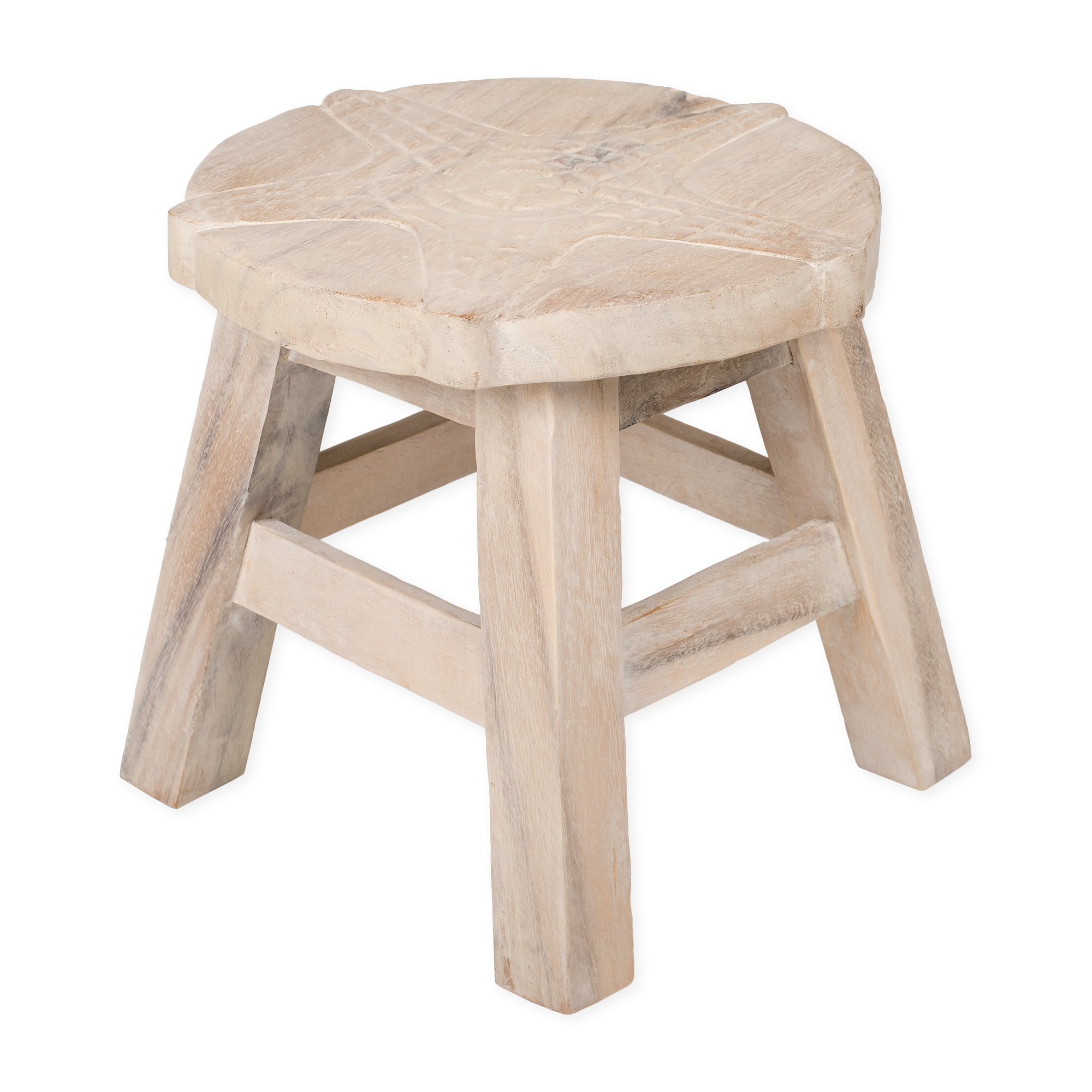 Starfish Whitewash Design Hand Carved Acacia Hardwood Decorative Short Stool