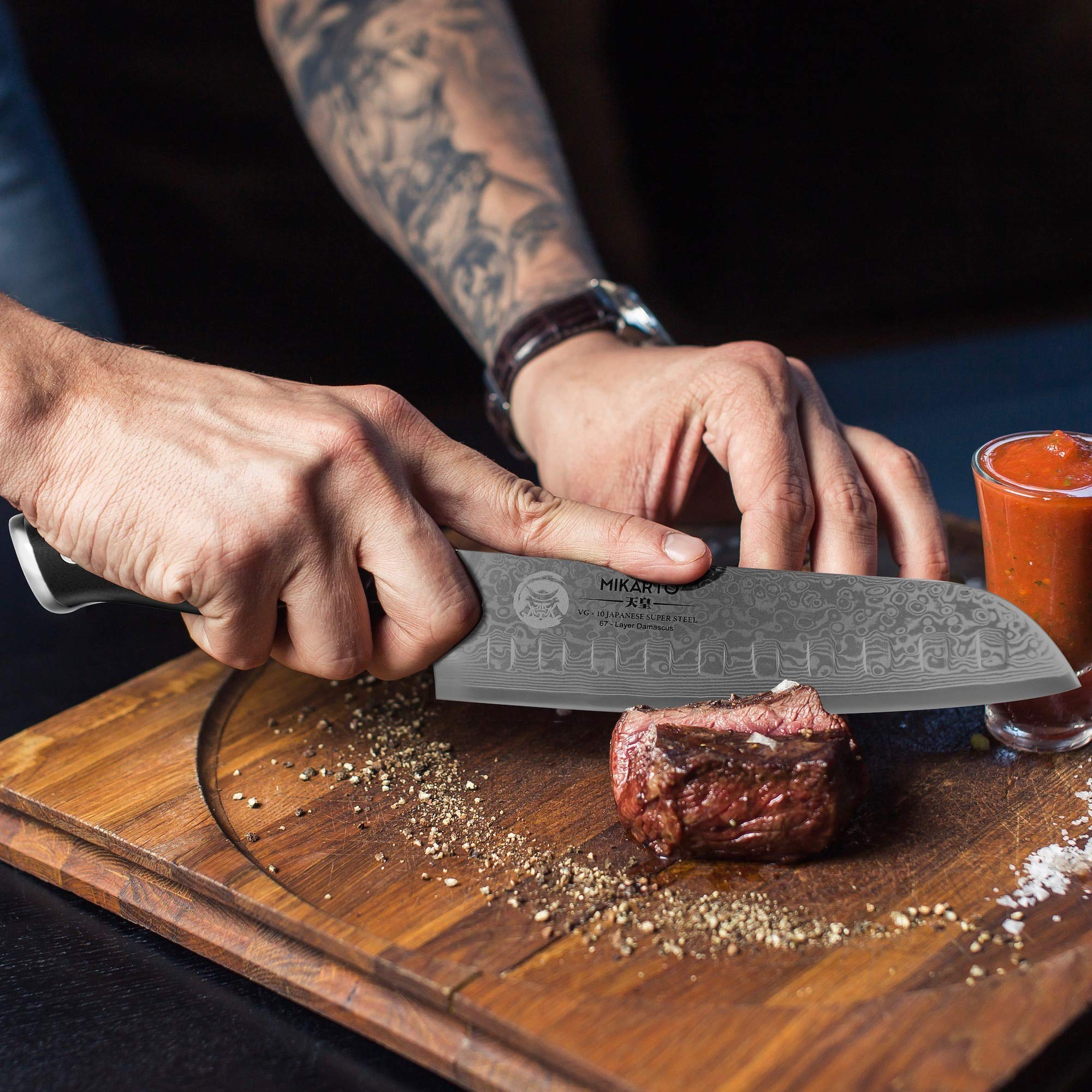 Santoku Japanese Chef Knife, 7 inch, Professional Grade - Damascus Stainless Steel Knife with Tsunami Rose Finish - Ultra Sharp, High Carbon Kitchen Knives - Quality, All Purpose, Precision Cutting by MIKARTO Knife Ware (Image #9)