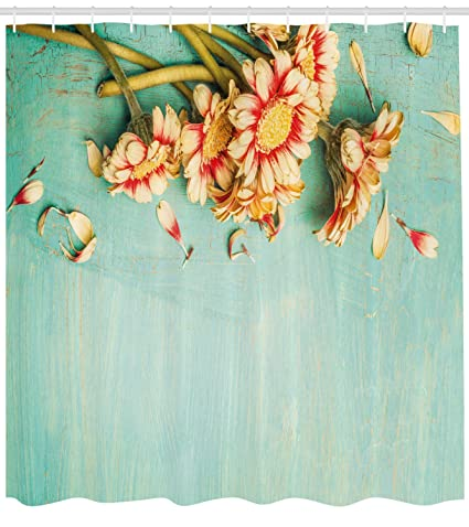 Shabby Chic decoración cortina de ducha por Ambesonne, ramo de Gerbera flores en color turquesa