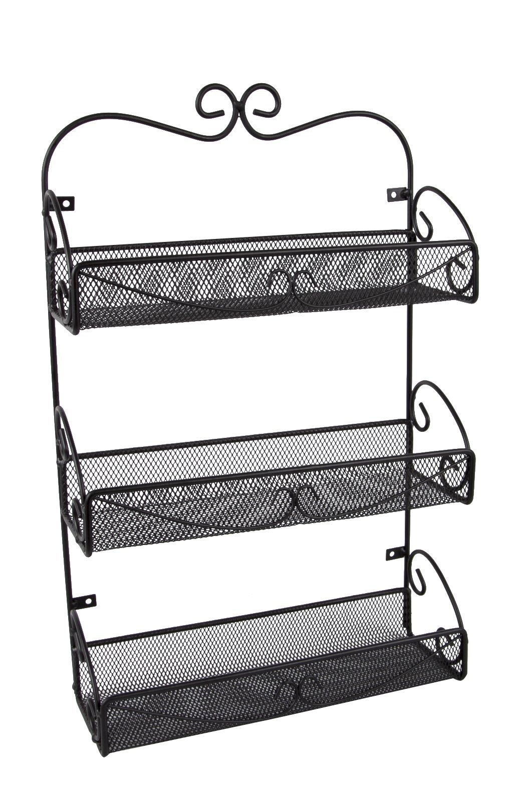 JMiles UH-SR245 3-Shelf Wall-Mounted Spice Rack - Hanging Shelf Rack for Kitchens, Bathrooms, and More - Storage Solution for Spices, Cosmetics, Soaps, and More