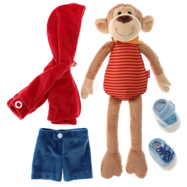 Sigikid 40989 M/ädchen und Jungen Stofftier Lern-Affe rot//dunkelblau Spielerisch An Ausziehen lernen