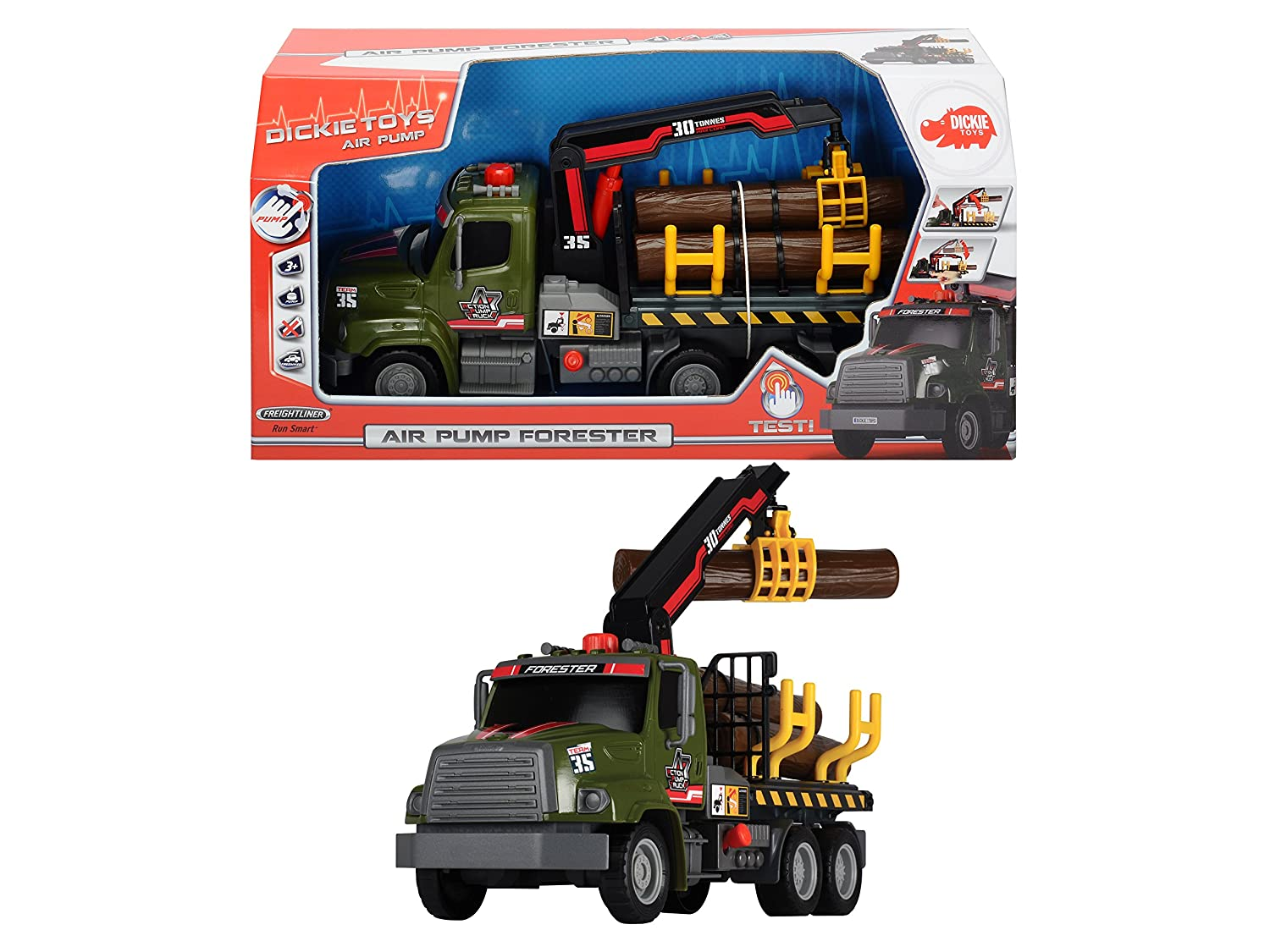 Dickie Toys 12 Air Pump Action Logging Truck Vehicle Dickie 20 380 6001 AMU Imports