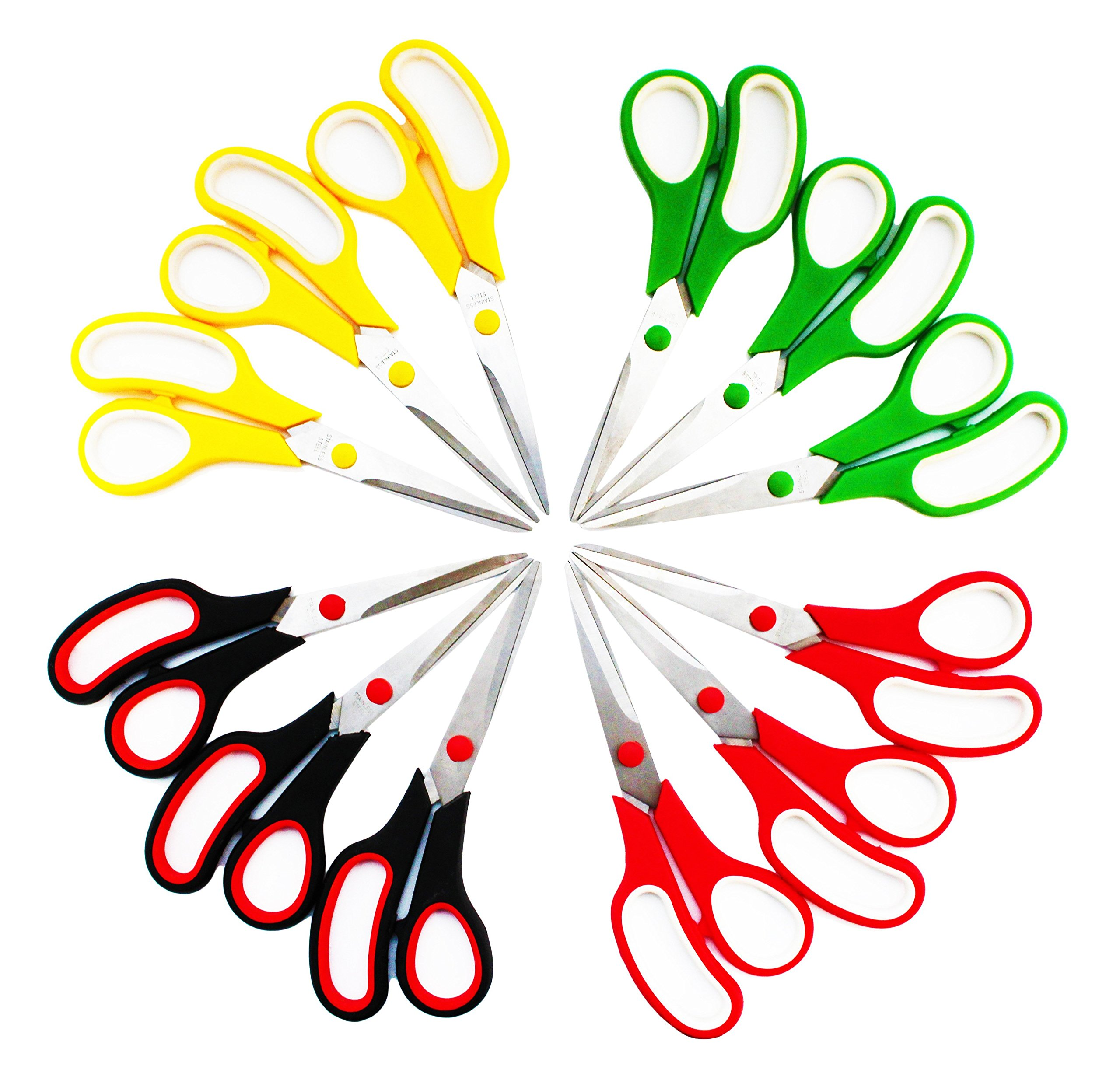 SKKSTATIONERY 8.5 Inch Scissors, Stainless Steel Sharp Blade, Comfort-Grip Handles, Pack of 12