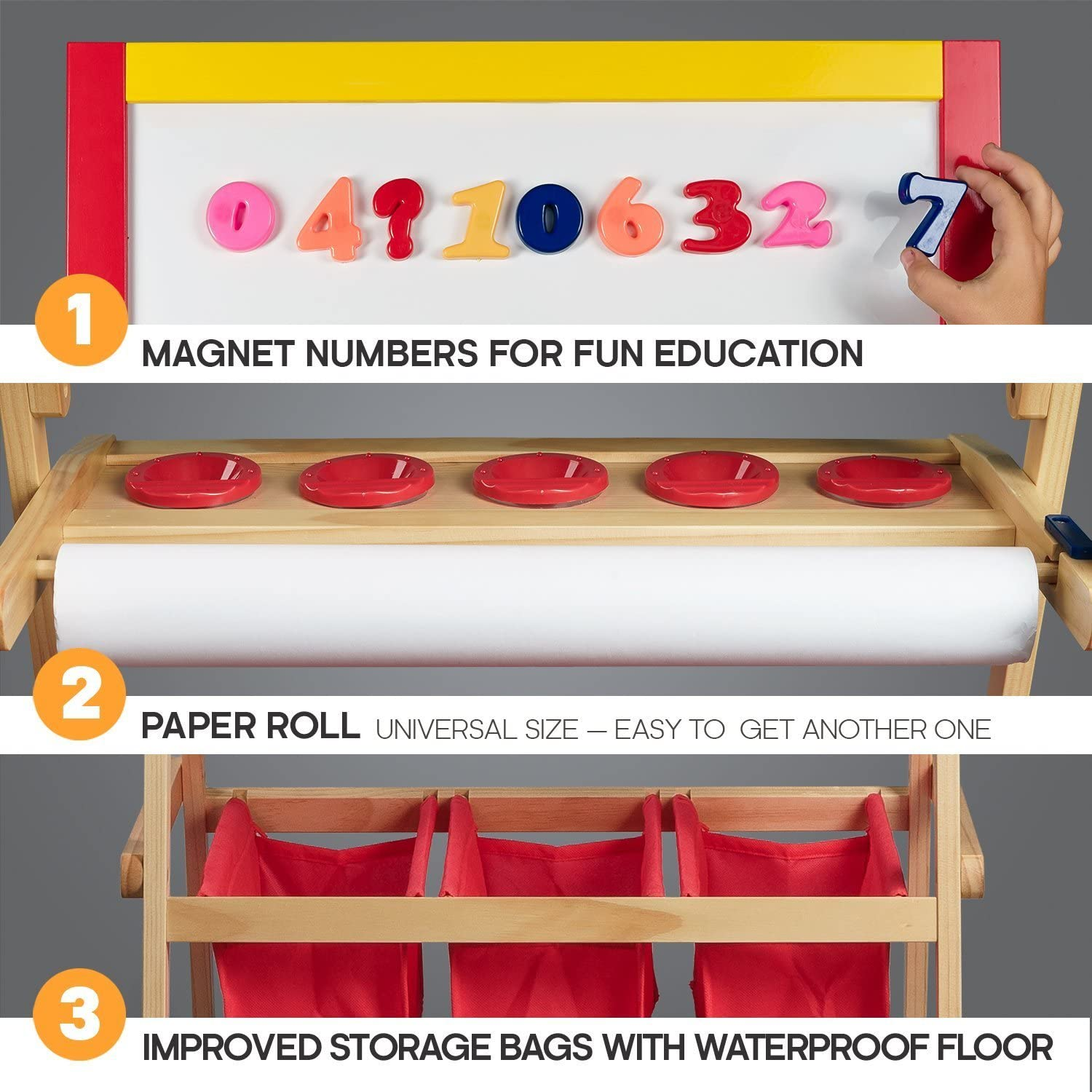 FREE Kids Art Supplies Double Sided Childrens Easel Chalkboard Magnetic Dry Erase Board Kids Easel with Paper Roll Toddler Easel with Storage Bins Wooden Art Easel for Kids Painting and Drawing