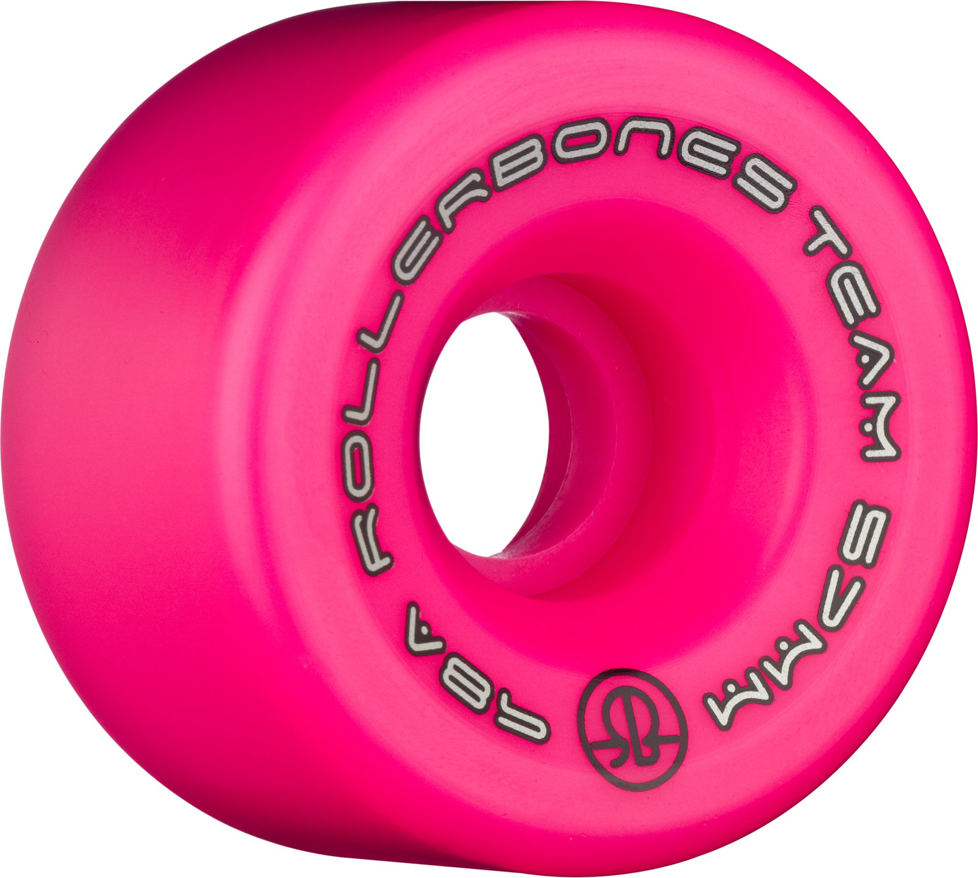 RollerBones Team Logo 98A Recreational Roller Skate Wheels (Set of 8), Pink, 57mm by RollerBones