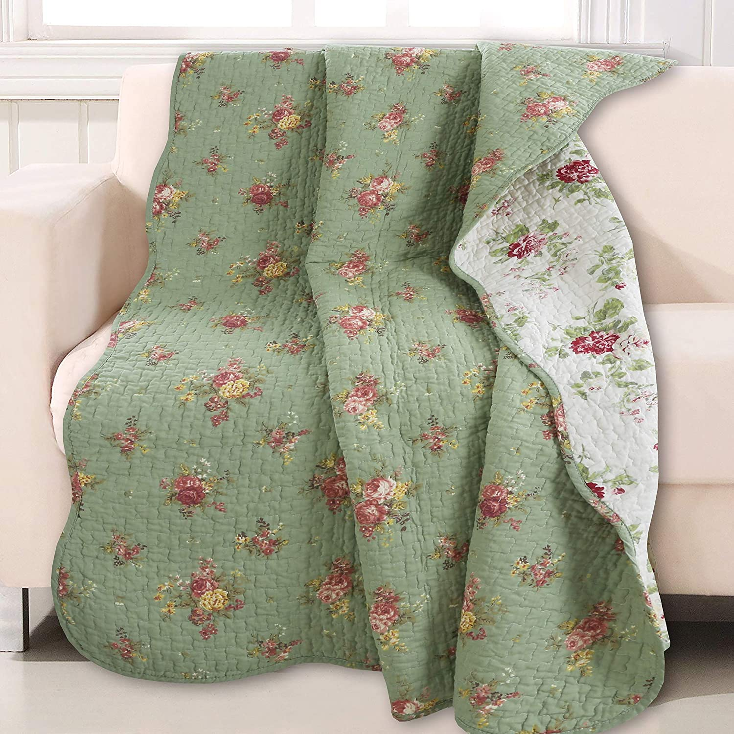 Cozy Line Home Fashions Vintage Floral Quilted Throw 100% Cotton Reversible All Season Throw (Blossom)