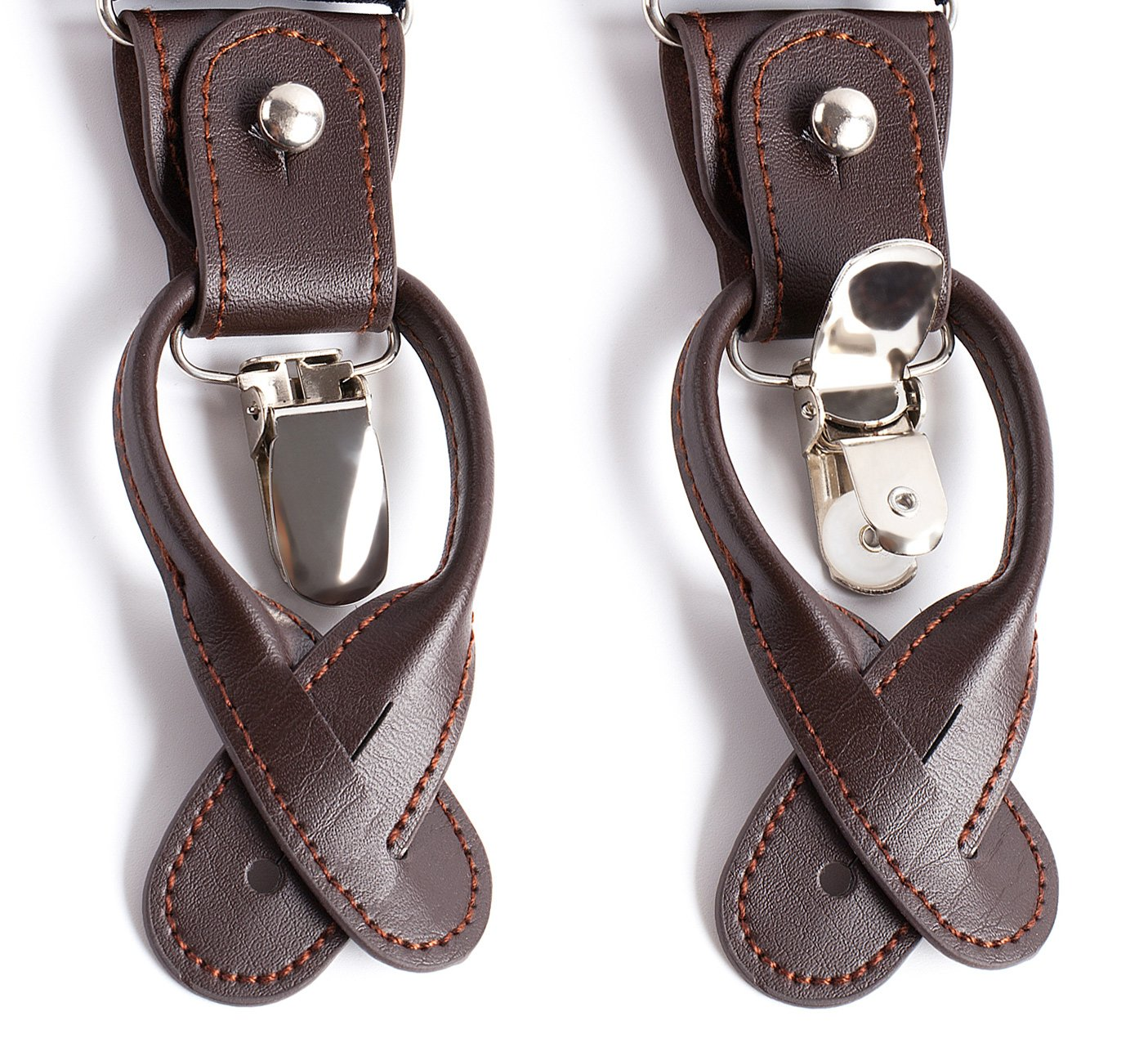 Jacob Alexander Mens Small Dots Y-Back Suspenders Braces Convertible Leather Ends Clips Red White