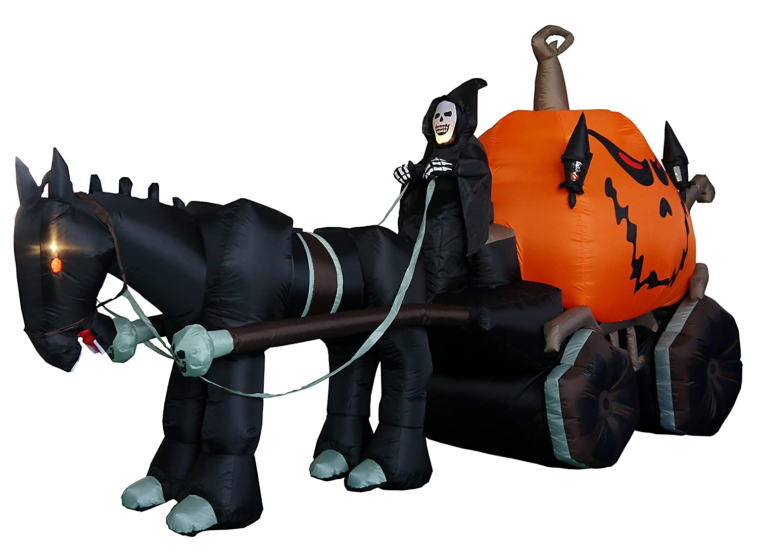 amazoncom 115 foot long inflatable grim reaper driving pumpkin carriage home kitchen - Halloween Inflatables Clearance