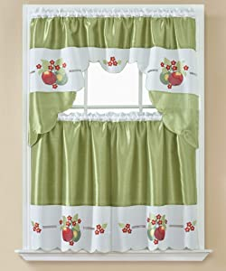 American Linen 3 Piece Embroidered Window Curtain Set, Valance and Tiers, with Embroidery (Green)
