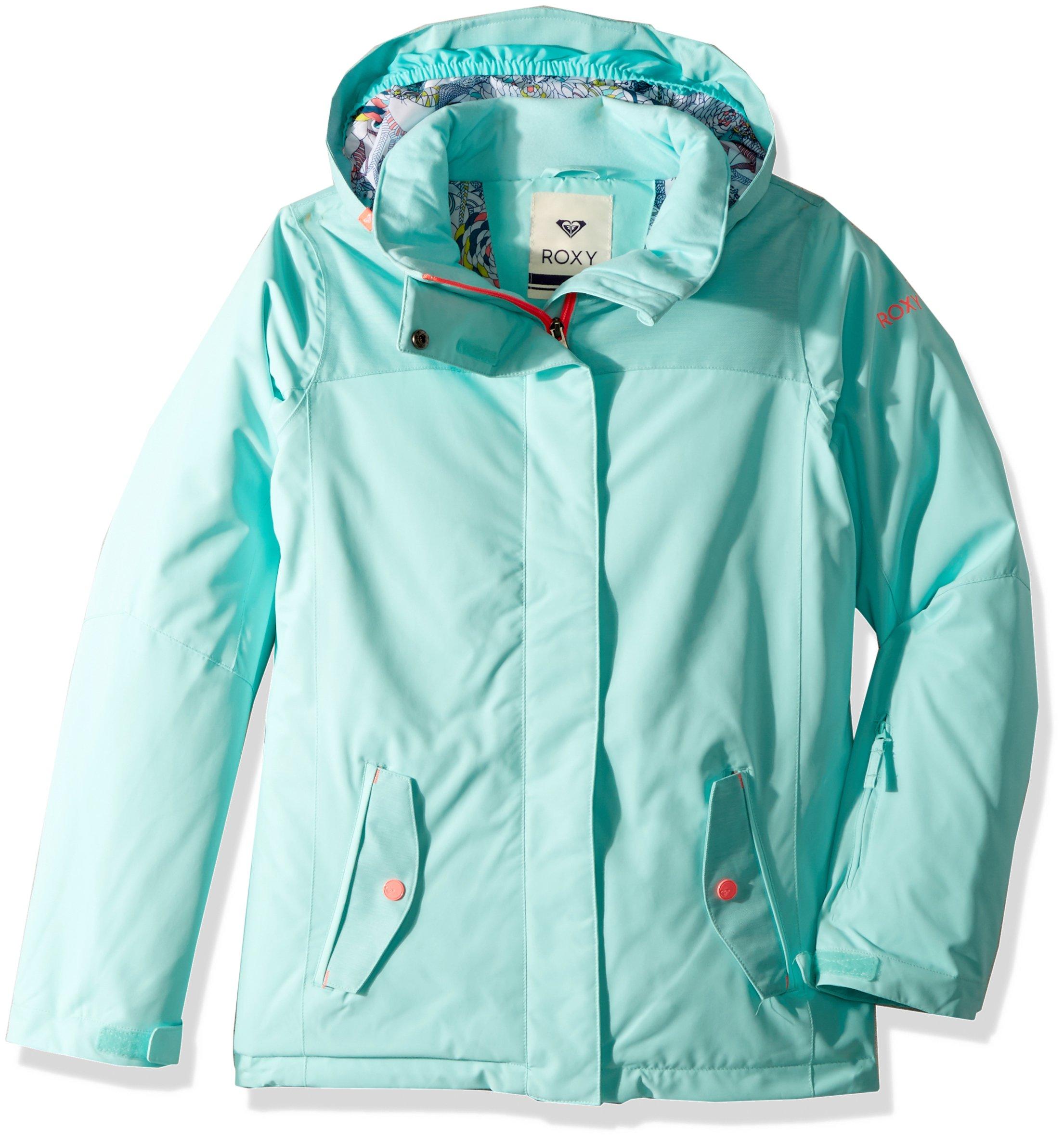Roxy Big Girls' Jetty Solid Snow Jacket, Aruba Blue, 14/XL