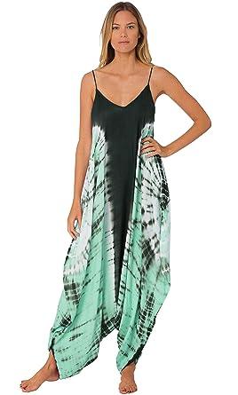 eba11a35d7cb Amazon.com  INGEAR Harem Jumpsuit Romper Bohemian Boho Loose Relax Fit Tie  Dye Handkerchief Jumpsuits  Clothing