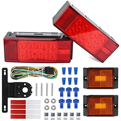 WoneNice 12V LED Low Profile Submersible Trailer Tail Light Kit, Combined Stop, Taillights, Turn Function: Automotive