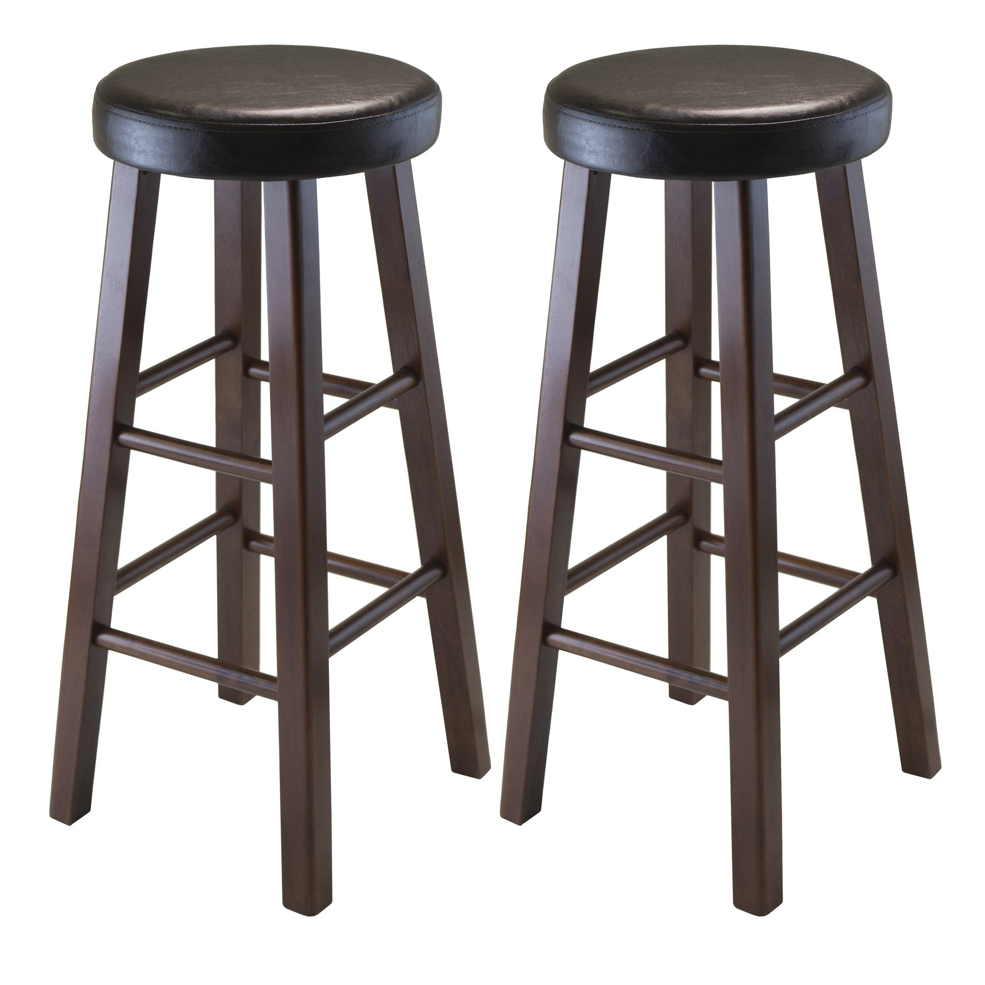 Winsome Wood Marta Assembled Round Bar Stool with PU Leather Cushion Seat and Square Legs, 30.3-Inch, Set of 2 by Winsome Wood
