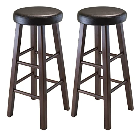 Sensational Winsome Wood Marta Assembled Round Bar Stool With Pu Leather Cushion Seat And Square Legs 30 3 Inch Set Of 2 Inzonedesignstudio Interior Chair Design Inzonedesignstudiocom