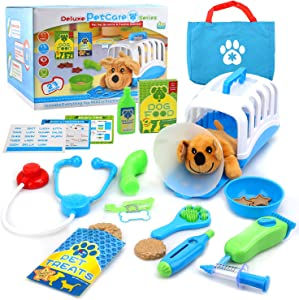 YIMORE Vet Set for Kids with Toy Dog Carrier, Pretend Veterinarian Kit Pet Care Doctor Playset for Toddlers
