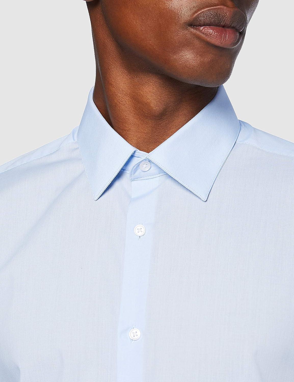 Burton Blue Slim Fit Easy Iron Shirt Camisa para Hombre