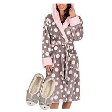 Metzuyan Ladies Luxury Dressing Gown Robe Slippers Gift Set  Amazon.co.uk   Clothing 1eb4a8d26