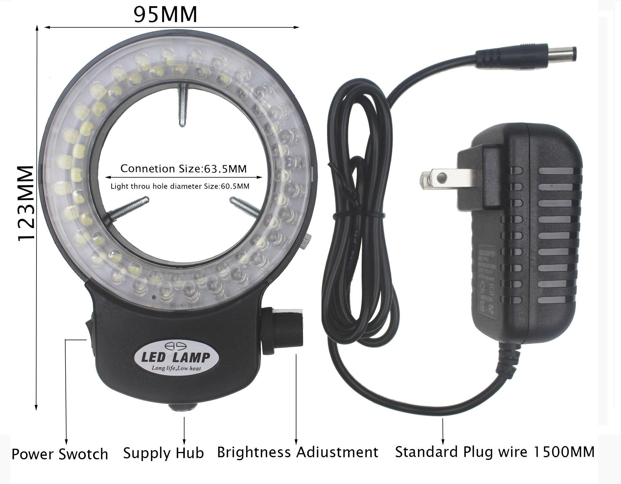 Bikani LED- 56 –BK Adjustable LED Ring Light for Stereo Microscope,with Power Adapter (Black) by BIKANI (Image #2)