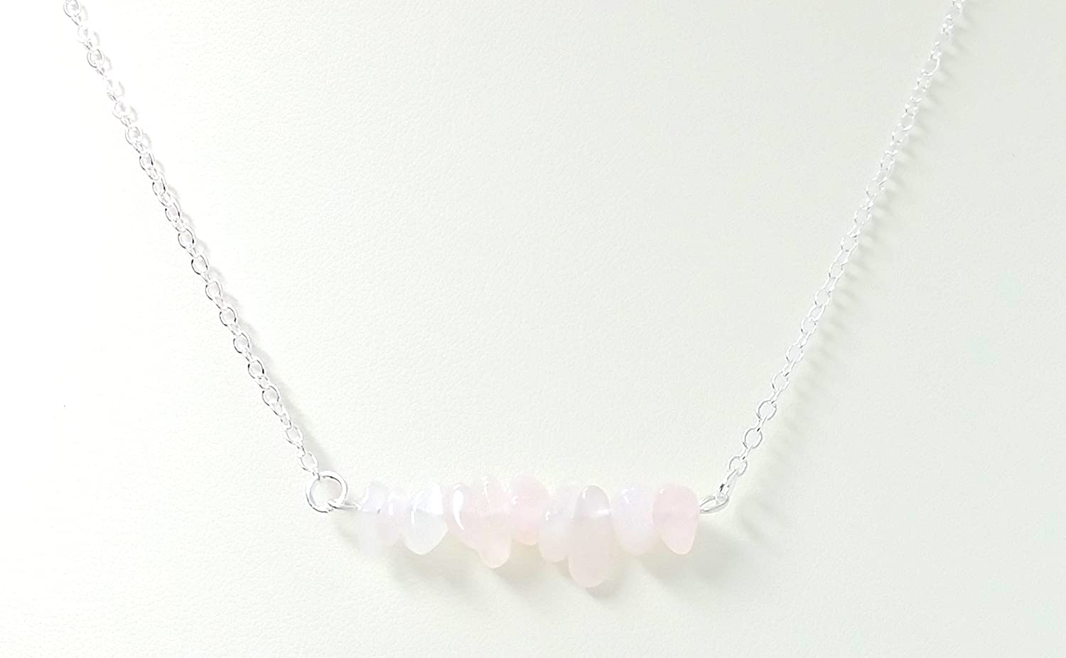 Rose Quartz Chips Bar Necklace