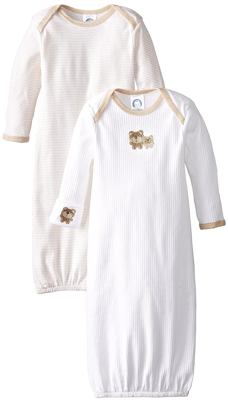 Gerber baby-girls Unisex-Baby Newborn 2 Pack Gown Brown 0-6 Months 80009216AN1506I