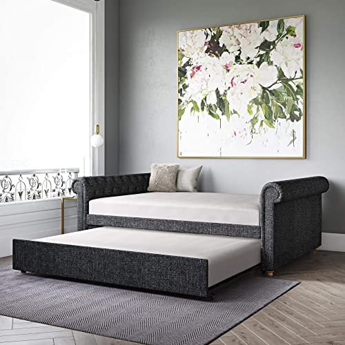 DHP Sophia Upholstered Queen Full Trundle, Dark Gray Linen Daybed,