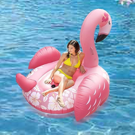 Inflable gigante Ride-poder del flamenco de la nadada del anillo del flotador de tubo partido con un rápido Válvulas de verano al aire libre Raft ...