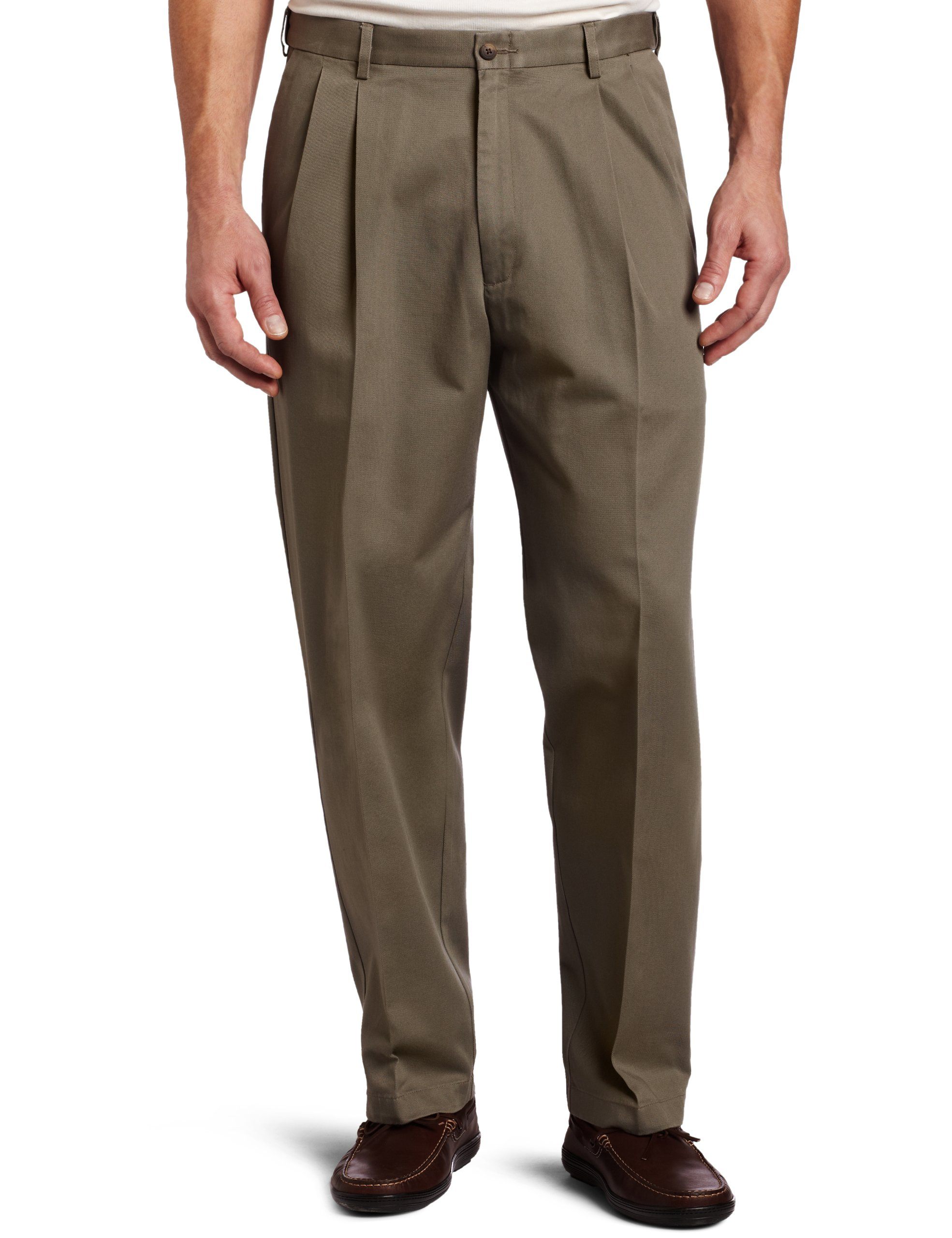 Haggar Men's Big-Tall Work to Weekend Hidden Expandable Waist Pleat Front Pant,Olive,48x29
