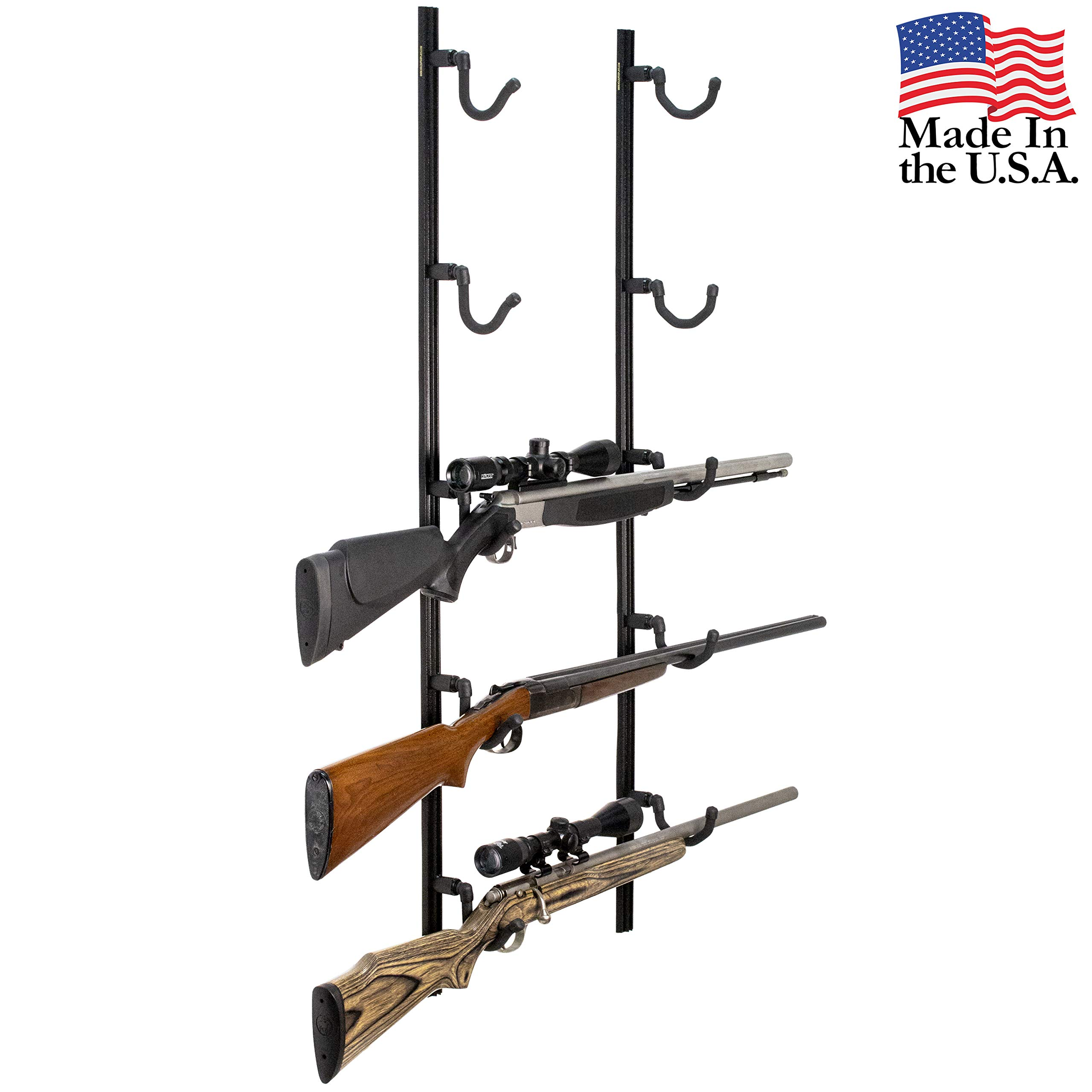 Hold Up Displays USA Made Gun Rack Rifle Shotgun Hanger and Fishing Rod Pole Rack - Black Vein by Hold Up Displays