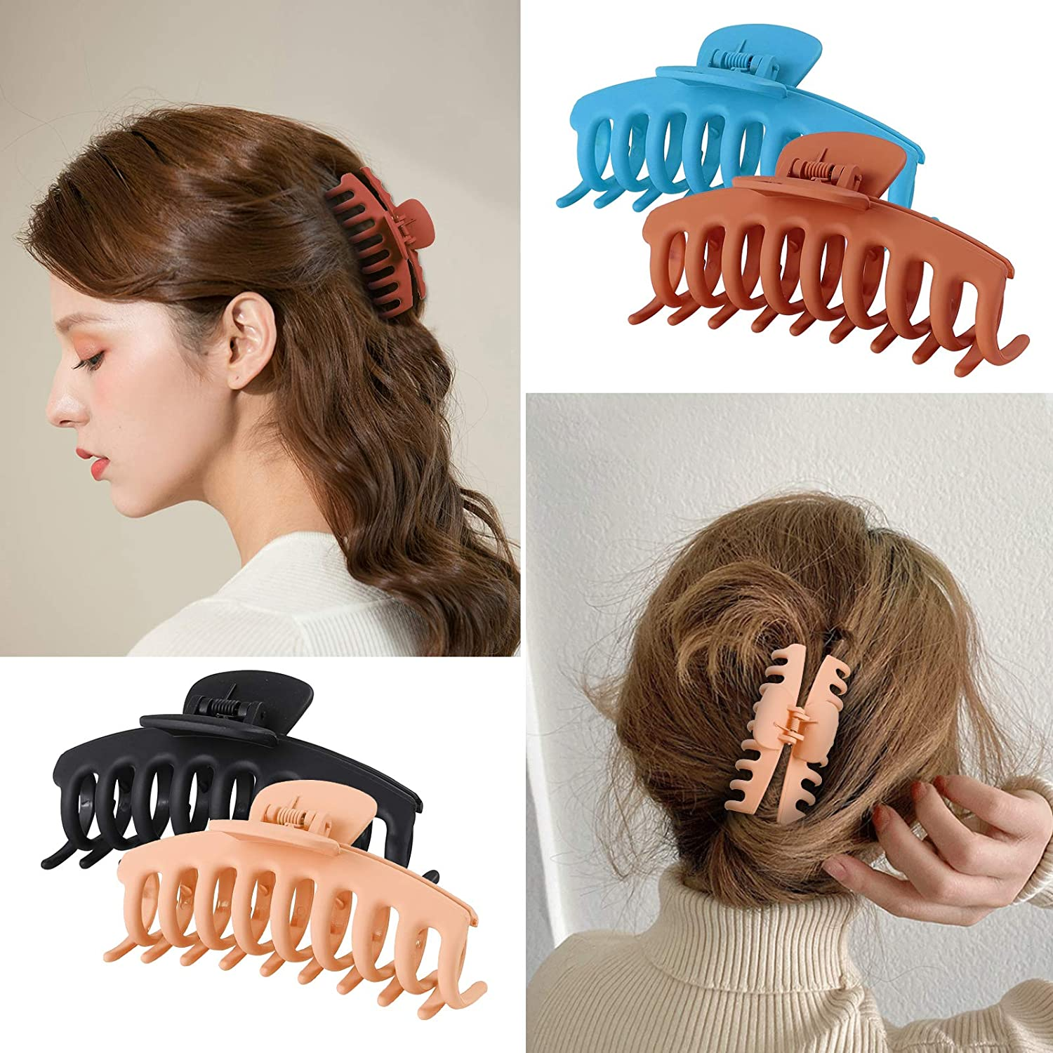 Tyfthui 6 Pcs Hair Claw Clips for Women Nonslip Hair Clips for Women and Girls, Strong Hold for Thin/Thick Hair Fashion Hair Styling Accessories (Multi-colored B) : Beauty