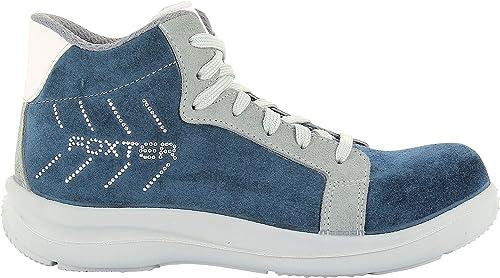 Foxter Chaussures de sécurité | Femmes | Montantes | Baskets de Travail | Légères et Respirantes | Imperméable | sans métal | Cuir Bleu | S3 SRA