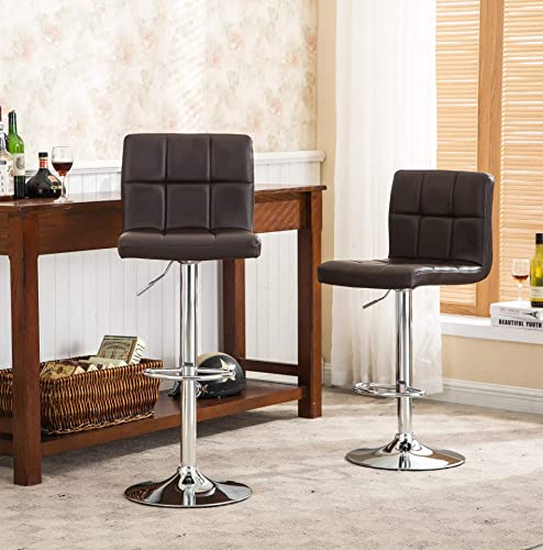 Roundhill-Furniture-2-Swivel-Elegant-PU-Leather-Modern-Adjustable-Hydraulic-Barstools,-Brown