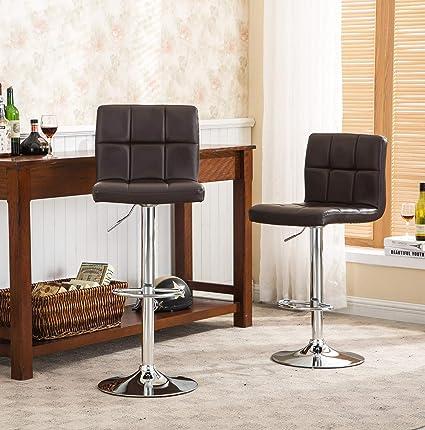Brilliant Roundhill Furniture 2 Swivel Elegant Pu Leather Modern Adjustable Hydraulic Barstools Brown Theyellowbook Wood Chair Design Ideas Theyellowbookinfo