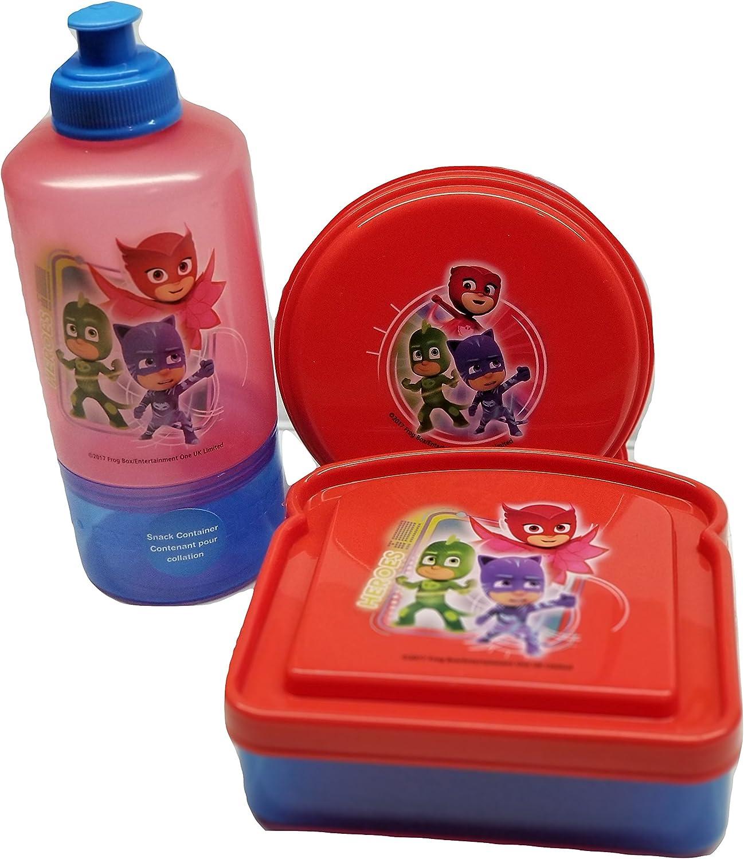 Desconocido PJ máscaras SIN BPA libre 1 botella de agua, 1 Sandwich caja de merienda, 1 recipiente para alimentos por Zak diseños Bundle Set