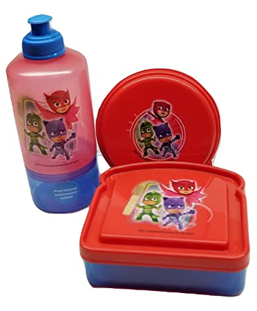 Pj Masks BPA Free 1 Snack Water Bottle, 1 Sandwich Box, 1 Snack Container