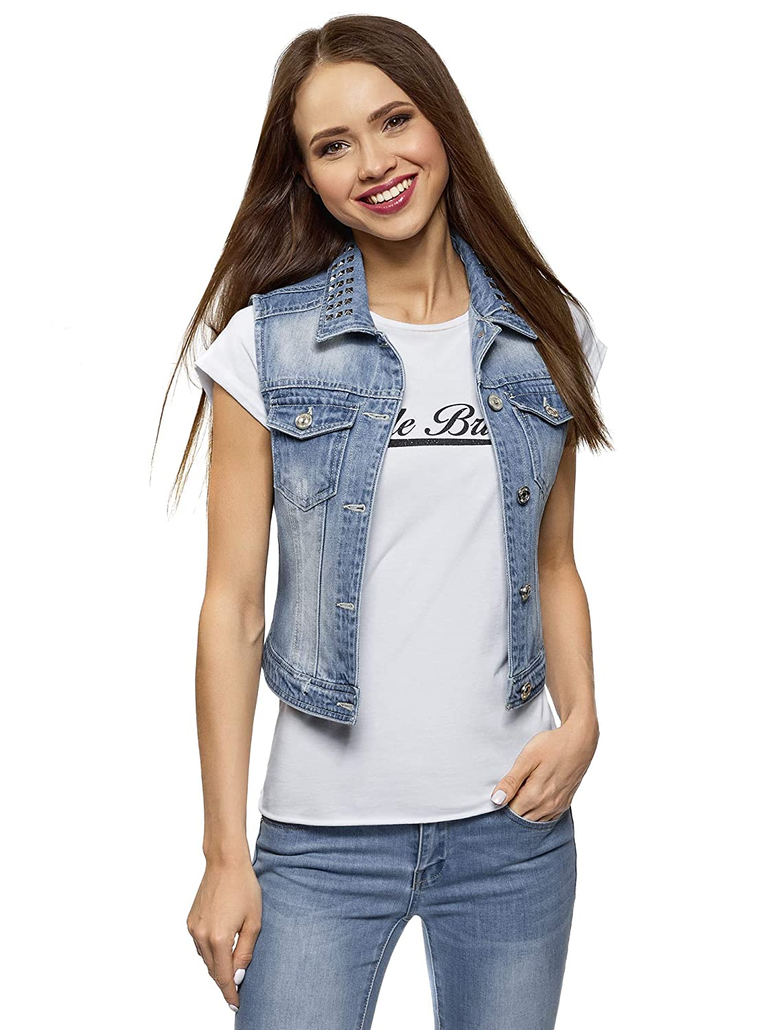 oodji Ultra Womens Denim Vest with Collar Studs