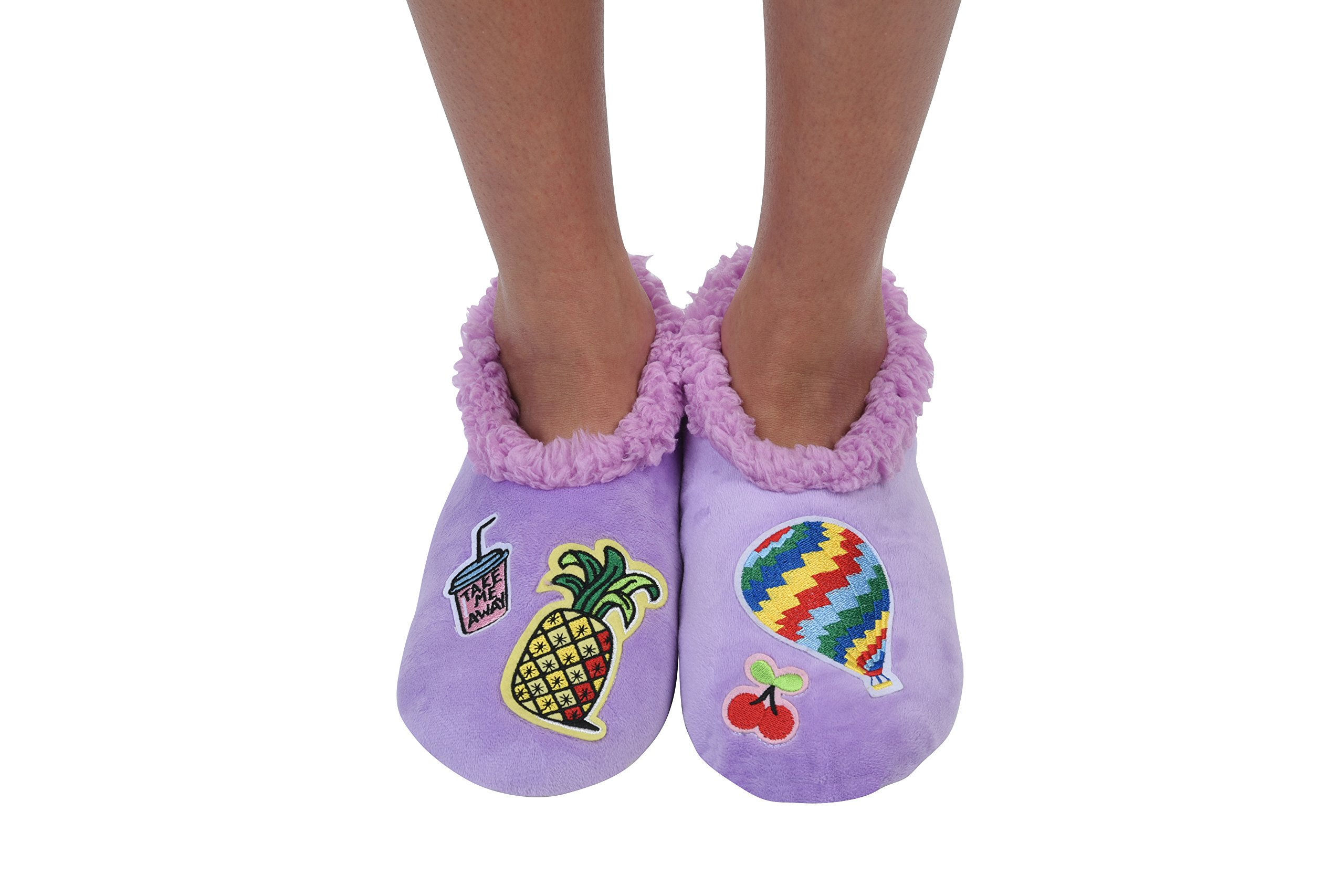 Snoozies Womens Cozy Groovy Applique Patches Non Skid Slipper Socks, Small, Lavender