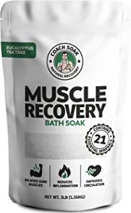 Coach Soak: Muscle Recovery Bath Soak - Natural Magnesium Muscle Relief & Joint Soother - 21 Minerals, Essential Oils & Dead Sea Salt - Absorbs Faster Than Epsom Salt for Soaking (Eucalyptus Tea Tree)